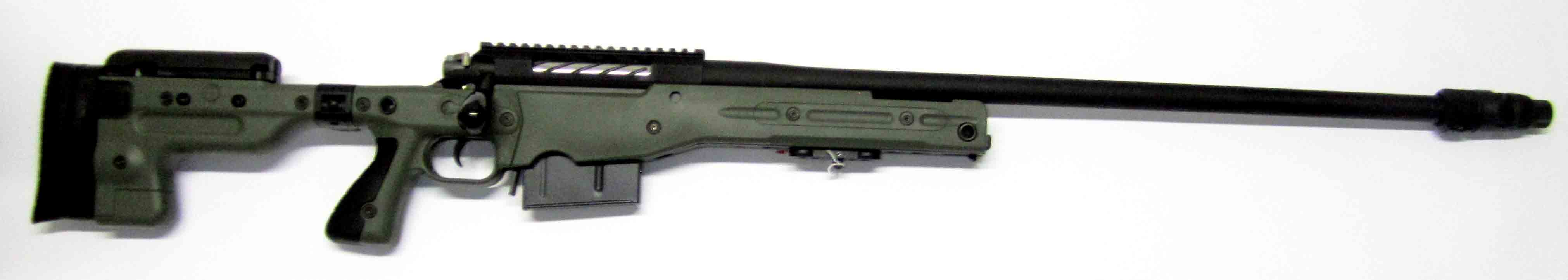 "Nimrod Rifle 27"" AT AICS folding stock . 338 LM . German custom action. Green. Tac Muzzle Brake